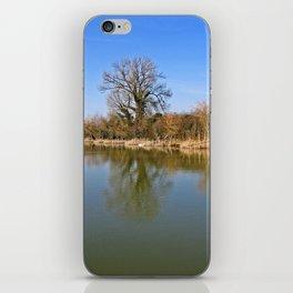 Fisherman on a reservoir iPhone Skin