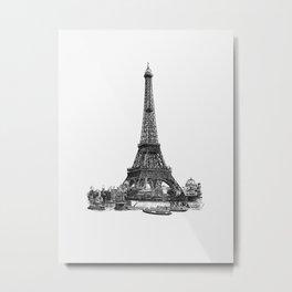 Black and White Minimalist Ink Drawing Illustration Eiffel Tower Metal Print