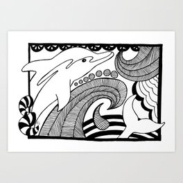 Black and white dolphin drawing Art Print