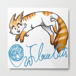 I Love Cats _ Orange & White Metal Print