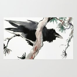 Raven, Japanese Ink Art, Traditional Asian Watercolor Rug