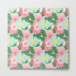 Modern pink teal green botanical tropical floral illustration Metal Print