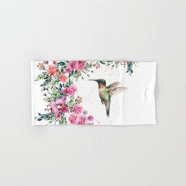 Hummingbird and Flowers Watercolor Animals Hand & Bath Towel