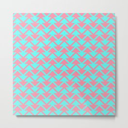 Modern girly pink teal aqua geometrical chevron stripes Metal Print