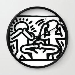 the three monkeys Wall Clock