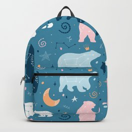 Beautiful Bohemian Boho Hippie Life Colorful Bear Stars and Moon Design Backpack