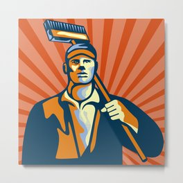 Street Cleaner Holding Broom Front Retro Metal Print