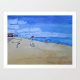 Salisbury Beach Watercolor Painting Art Print