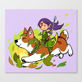Corgi and Fairy - purple ver Canvas Print