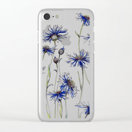 Blue Cornflowers, Illustration Clear iPhone Case