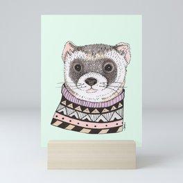 Hipster Ferret Mini Art Print