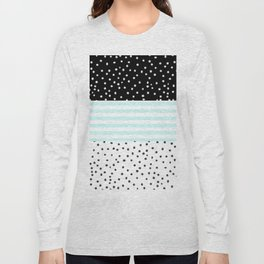 Modern black white teal stripes watercolor polka dots Long Sleeve T-shirt