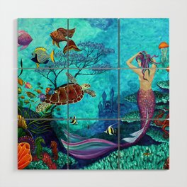 A Fish of a Different Color - Mermaid and seaturtle Wood Wall Art