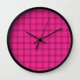 Black Grid on Bright Pink Wall Clock