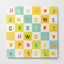 alphabet  from A to Z. Polka dot background with green blue orange square Metal Print