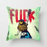 writing Throw Pillows featuring Writing Fuck by Mauricio Santana
