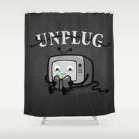 literary Shower Curtains featuring Unplug by littleclyde