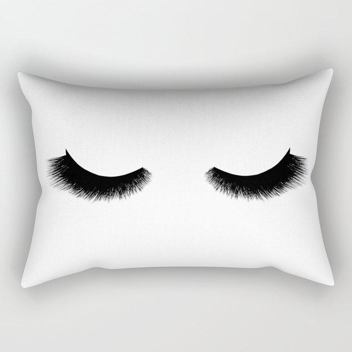black and white eyelashes Rectangular Pillow