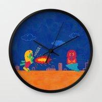 foo fighters Wall Clocks featuring Fantastic Fighters by murat kalkavan