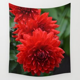 Fresh Rain Drops - Red Dahlia Wall Tapestry