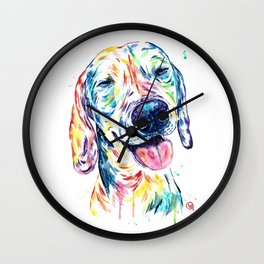 Dachshund - Colorful Watercolor Dog Pet Portrait Painting Wall Clock