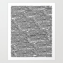 Hand painted monochrome waves pattern Art Print