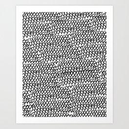 Hand painted monochrome waves pattern Art Print