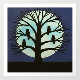 Spooky Owl tree Art Print