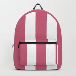Cinnamon Satin pink - solid color - white vertical lines pattern Backpack