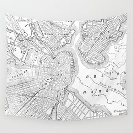 Vintage Map of Boston (1878) Wall Tapestry