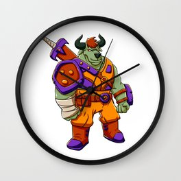 Bull warrior cartoon illustration Wall Clock