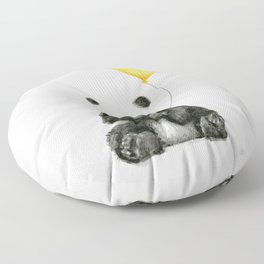 Panda with Yellow Balloon Baby Animal Watercolor Nursery Art Floor Pillow
