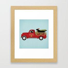 Black lab dog labrador christmas tree farm vintage red truck Framed Art Print