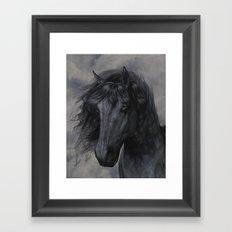 Black Horse Framed Art Print