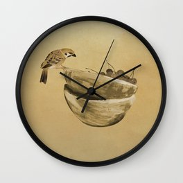 Sparrow And Bowl of Cherries Wall Clock