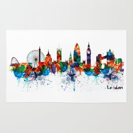 London Watercolor Skyline Silhouette Rug