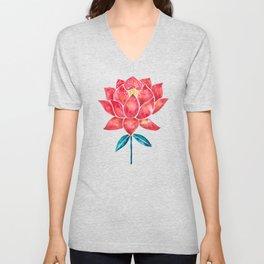 Sacred Lotus – Red Blossom Unisex V-Neck