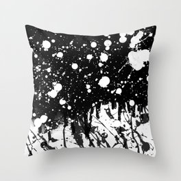 Black and White Splatter Paint  Throw Pillow