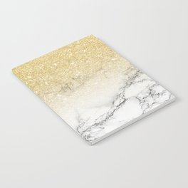 Modern faux gold glitter white marble color block Notebook