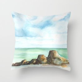 2019 Watercolor Sea Scape Series 001 Watercolor Painting Throw Pillow
