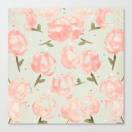 Syana's Cabbage Roses Canvas Print