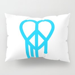 Heart peace blue Pillow Sham