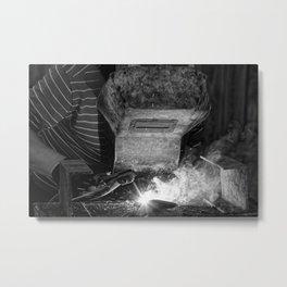 Welder works Metal Print
