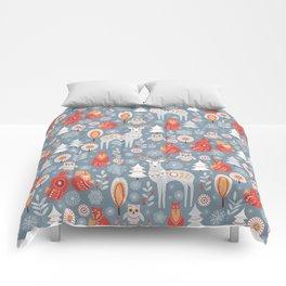 Fairy forest, deer, owls, foxes. Decorative pattern in Scandinavian style. Folk art. Comforters