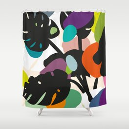 Monstera Big Leaves Shower Curtain