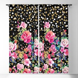 Modern watercolor spring floral and gold dots pattern Blackout Curtain