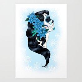 Winter Sugar Skull Art Print