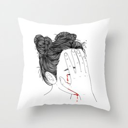This girl is embarrassed off her face Throw Pillow