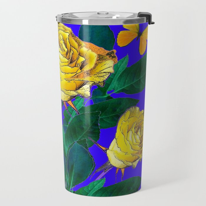 ROSES & YELLOW BUTTERFLIES INDIGO PURPLE VIGNETTE ABSTRACT Travel Mug