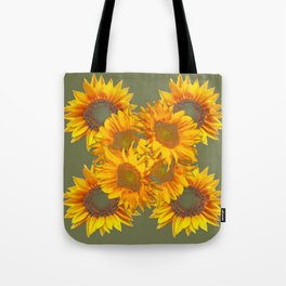Golden Sunflowers on Putty Color  Art Tote Bag